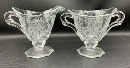 HEISEY ORCHID PATTERN LARGE CREAMER AND OPEN SUGAR BOWL 19-1541 - $30.39