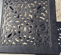 """Patio end table 24"""" square outdoor cast aluminum accent pool side furniture. image 4"""