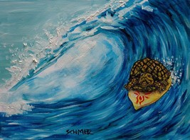 turtle surfing surfer gift animal  art print modern 11x17 glossy finish - $23.99