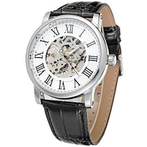 Men'S Classic Watch Stainless Steel Skeleton Luminous Auto Mechanical Le... - £37.33 GBP