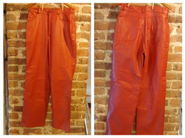 Vintage 1980's - 90's Red Leather Pants Size L-XL  - $30.87
