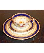 CROWN STAFFORDSHIRE GOLD COBALT AND FLOWERS 3-PIECE TEA SET - $79.00