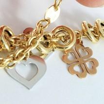 Armband Gelbgold Weiß Pink 18K 750, Kreise, Shamrocks und Hearts, Italien - $1,058.43