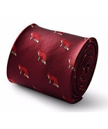 Maroon Mens Tie with Hunting Fox Print by Frederick Thomas FT3342 - $18.35