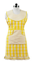 country Picnic Yellow Gingham Checkered Fabric Decorative Kitchen Chef A... - $34.99