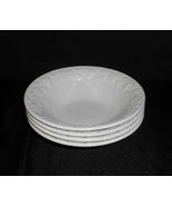 Barratts English Ironstone Lincoln White Coupe Cereal Bowls Embossed Fru... - $25.00