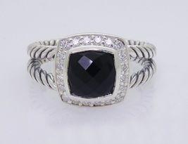 David Yurman Sterling Silver Black Onyx & Diamond Petite Albion Ring Size 8 - $325.71