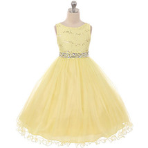 Yellow Sequin Bodice Double Layers Tulle Skirt Rhinestones Flower Girl D... - $37.95+