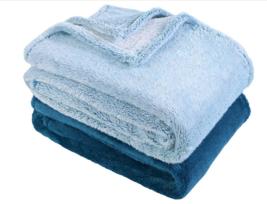 "Berkshire Blanket Set of 2 60"" x 70"" Fluffie Throws Blue - $46.50"