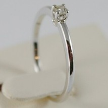 18K WHITE GOLD SOLITAIRE WEDDING BAND THIN STEM RING DIAMOND 0.07 MADE IN ITALY image 2