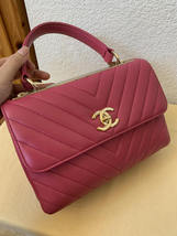 AUTHENTIC CHANEL PINK CHEVRON LAMBSKIN TRENDY CC 2 WAY HANDLE FLAP BAG GHW image 7