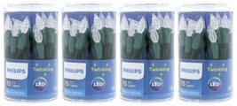 4 Philips 15ct Christmas LED C3 Battery Operated String Lights PureWhite Twinkle