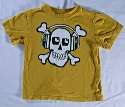 Children's Place yellow t shirt skull crossbones sz XS (4) graphic short... - $11.88