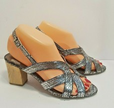 "SAM EDELMAN ""LUNA"" Women's Size 6 Silver Metallic Sandals With Wooden Heels - $9.89"