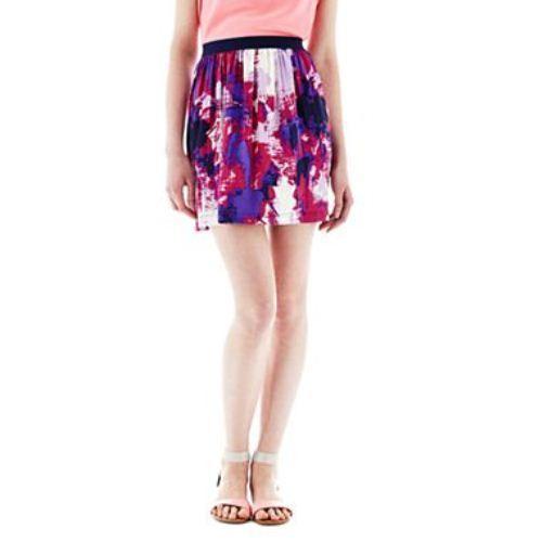 Joe Fresh Soft Print Pull-On Purple Flare Skirt New Size XL Msrp $34.00