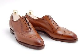 Handmade Men's Brown Wing Tip Brogues Style Oxford Leather Shoes image 1