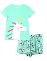 Girls Unicorn Pajamas - 95% Cotton / 5% (16|Mint (95% Cotton / 5% Spandex)) - $25.39