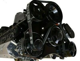Small Block Chevy Serpentine Front Drive System Complete Kit BLACK image 4