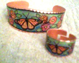 Vintage Copper Colorful Butterfly & Flowers Cuf... - $18.00