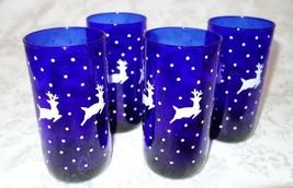 Vtg Libbey Cobalt Blue Tumblers 16oz Set of 4 White Reindeer Highball Holiday  - $23.28