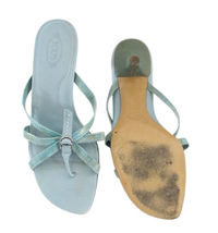 TOD'S Aqua Reptile Leather Strappy Thong Sandals size 8 image 3