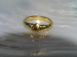 Estate Dainty Goldtone Swirl with Heart & Red Rhinestone Ring Size 5 – w... - $11.02