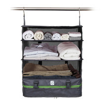 PORTABLE LUGGAGE SYSTEM - PACKABLE HANGING TRAVEL SHELVES & CUBE ORGANIZER - $19.79+