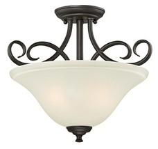 Two-Light Indoor Semi-Flush, Oil Rubbed Bronze Finish with Frosted Glass - $82.03