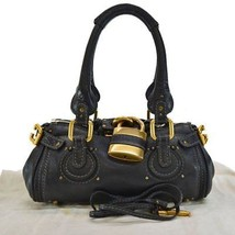 Chloe Handbag Paddington Black x Gold Leather x Metal - $306.90