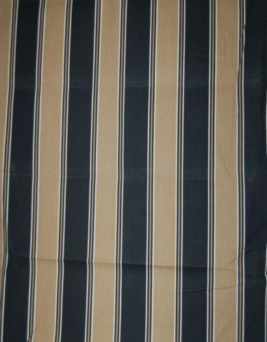 Black Tan Wide Stripe Material 1 1/2 Yards 100 Percent Spun Polyester
