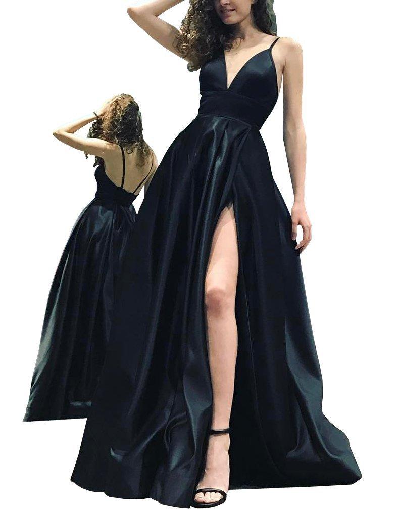 Women's Spaghetti Straps Deep V-Neck Long Prom Dress Slit Evening Party Dress - $98.88