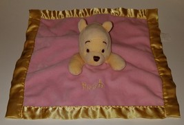 Winnie Pooh Pink Yellow Lovey Disney Parks Plush Baby Security Blanket Rattle - $14.46