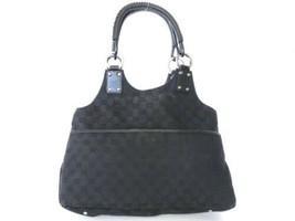 Authentic GUCCI Original GG Black Canvas Leather Shoulder Bag Purse - $155.40