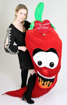 6 feet tall Giant Stuffed Red Hot Pepper for a Hot Chick - Embroidered Heart Say - $167.11