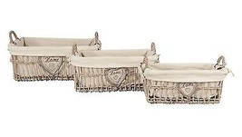 SET OF THREE WICKER EMBROIDERED HOME HEART LINEN LINED CUTLERY BASKETS - $41.61