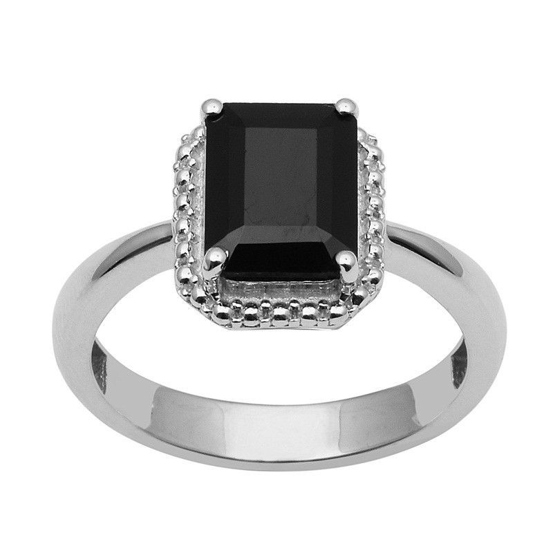 Beautiful Black Spinel 925 Sterling Silver Ring Shine Jewelry Size-8 SHRI1446