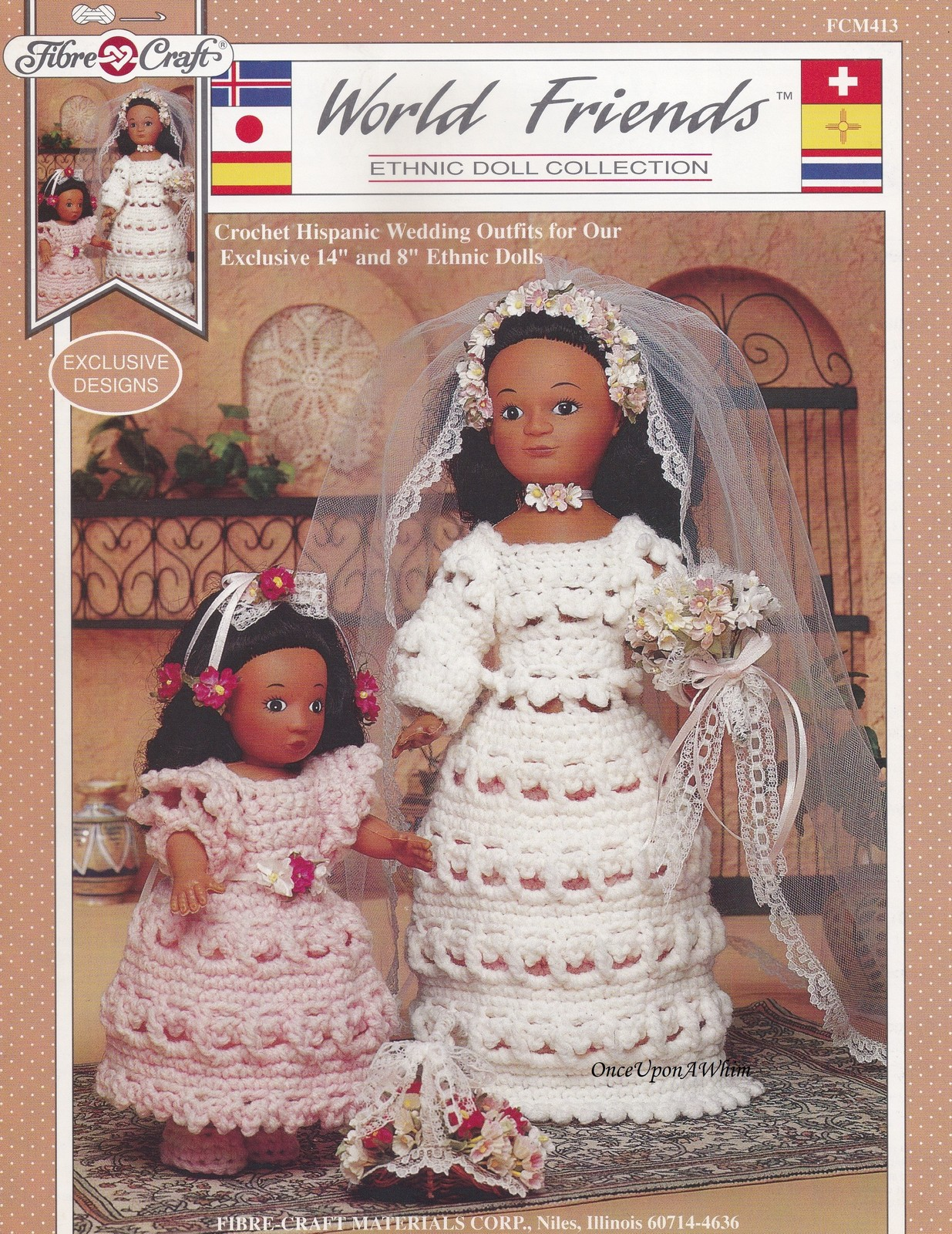 Hispanic Wedding Outfits, Fibre Craft World Friends Crochet Pattern FCM413 HTF