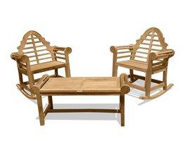 Windsor's Genuine Grade A Teak Lutyens 3 pc Set, Coffee Table & 2 Rockers  - $1,795.00
