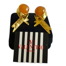 Valentino Earrings 18K Gold Plate Gripoix Ribbon Style Italy Signed - $151.05