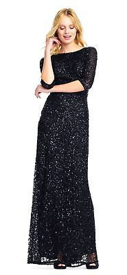 Adrianna Papell 3/4-Sleeve Scoop-Back Sequin Gown Dress