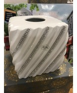 Bella Lux Bathroom Accessory Ceramic Swirled White Crystal Tissue Box ~New~ - $39.99