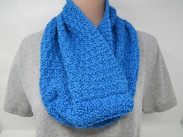 Handcrafted Knitted Cowl Wrap Blue Textured Alpaca/Merino Female Adult - $53.56