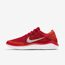 MEN'S NIKE FREE RN FLYKNIT 2018 SHOES red white 942838 601 MSRP - $76.14