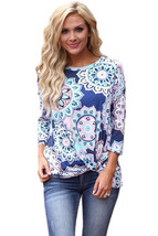 Blue Long Sleeve Knotted Boho Print Blouse  - $18.49