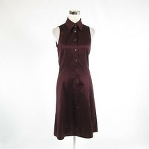 Dark purple cotton blend ARMANI Collezioni sleeveless A-line dress 8 - $129.99