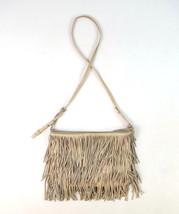 ZARA Nude Beige Tiered Western Boho Fringe Leather Shoulder Bag Satchel ... - $24.74