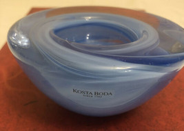 Vintage Kosta Boda dish / candle holder/ Blue color - $19.80