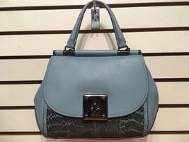 Coach Leather & Snakeskin Drifter Handbag Blue - $395.01