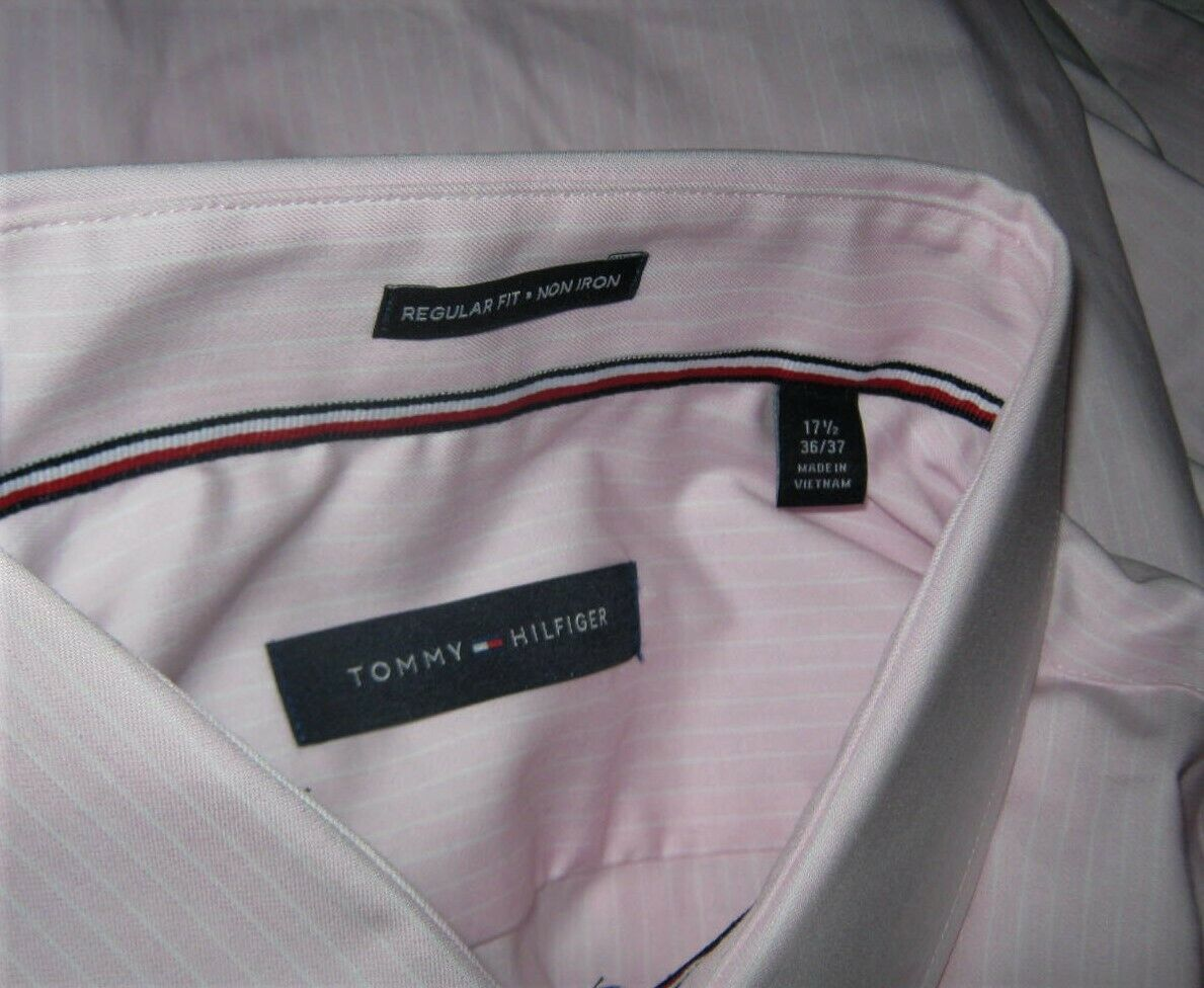Tommy Hilfiger Men's Classic Fit Non-Iron Pink Banker Stripe Dress Shirt XL