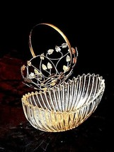 Heavy Glass Basketwith Metal Carrier with handle / Leaf DesignAA18-11912 Vint image 2